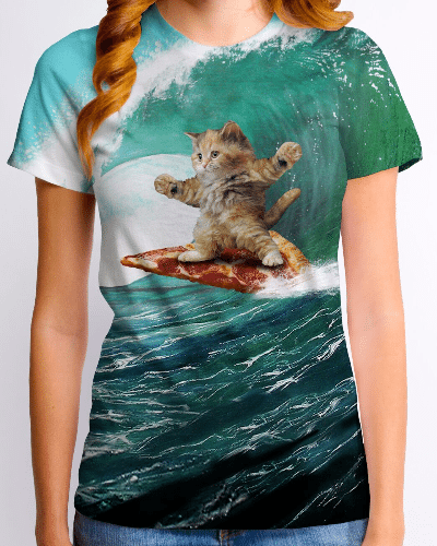 Pizza Surfing Cat Junior T-Shirt