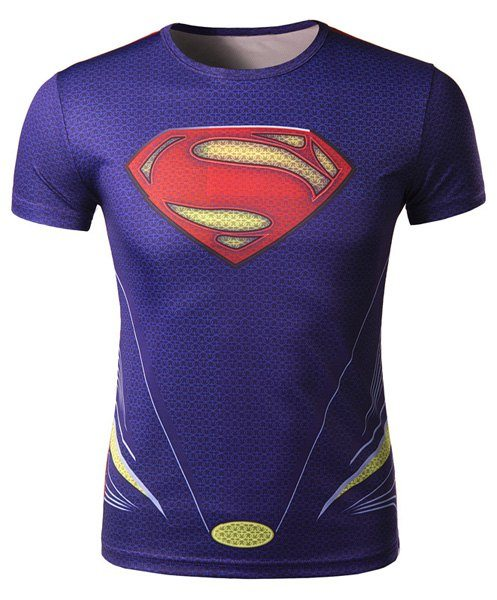 3D Superman Pattern Slimming Round Neck Short Sleeve Modish Polyester Quick-Dry T-Shirt For Men
