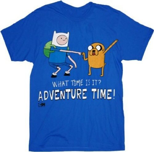Adventure Time with Finn & Jake Standing Dap What Time Is It? Royal Blue Adult T-shirt