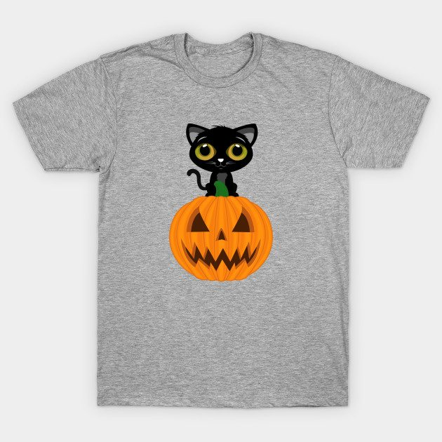 Black Kitten & Jack O Lantern T-Shirt