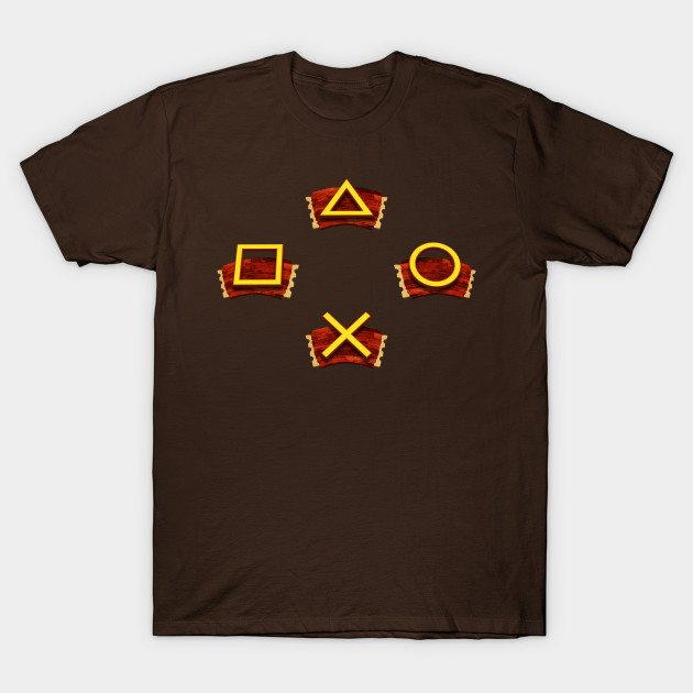 PlayStation Button Icons Crash Bandicoot Style T-Shirt