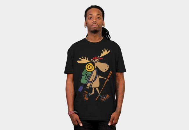 Cool Funny Moose Hiking with Backpack