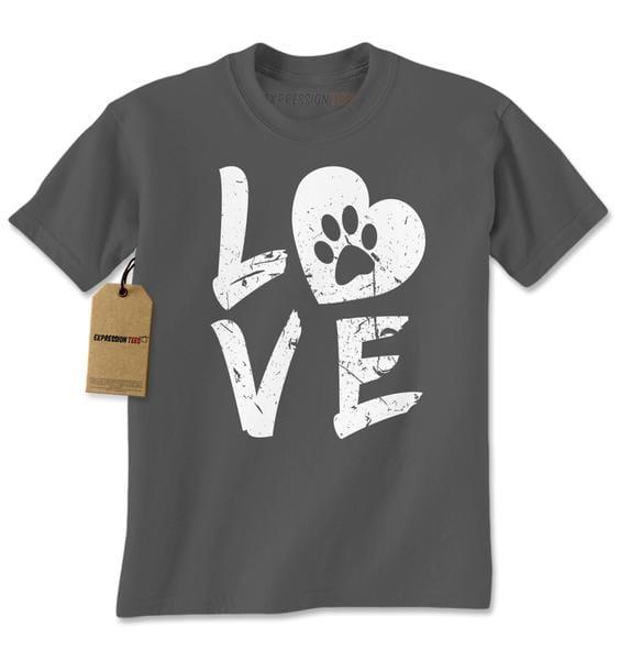 I Love My Dog Paw Print Mens T-shirt