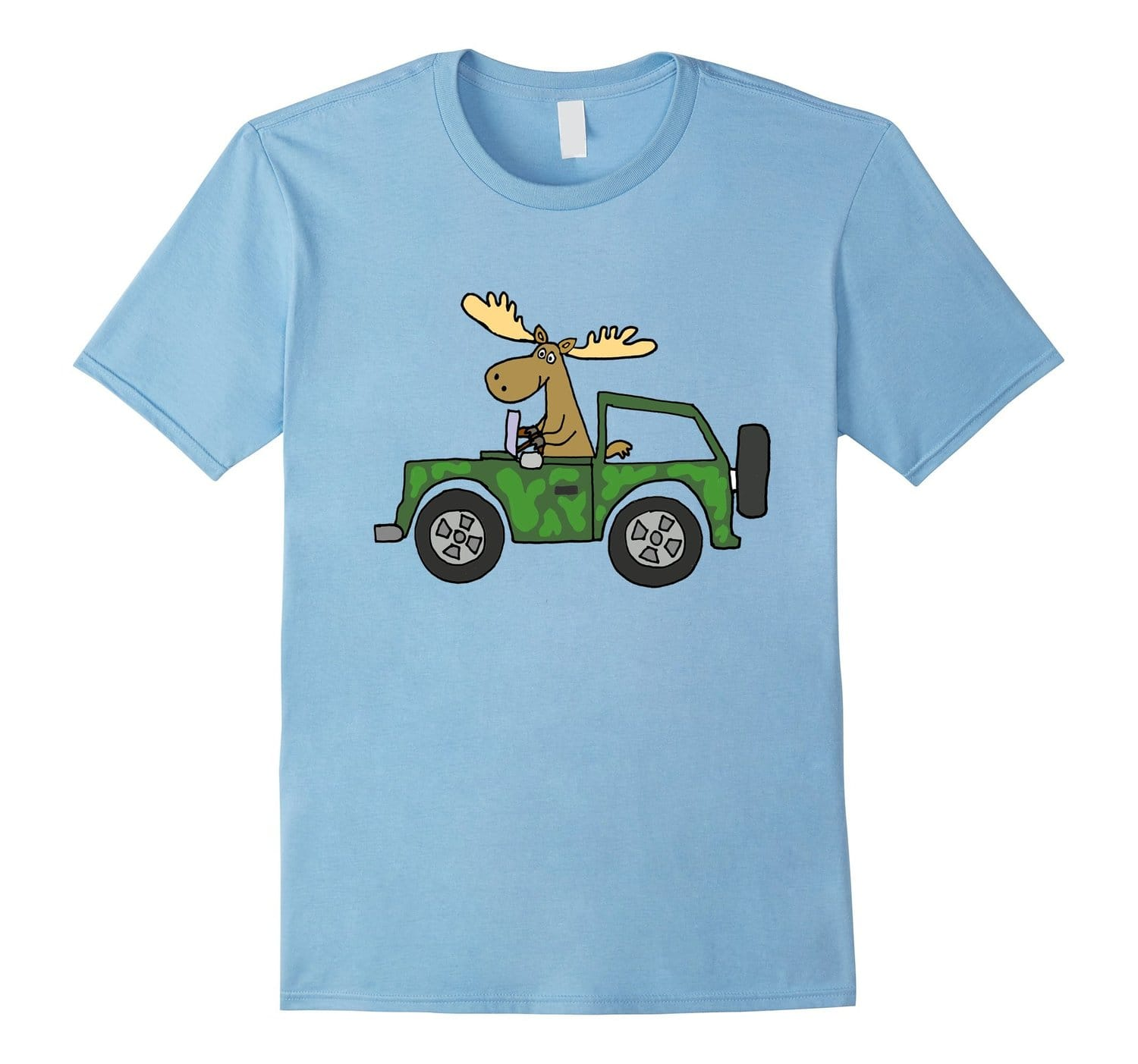 Smiletodaytees Funny Moose Driving camouflaged Car
