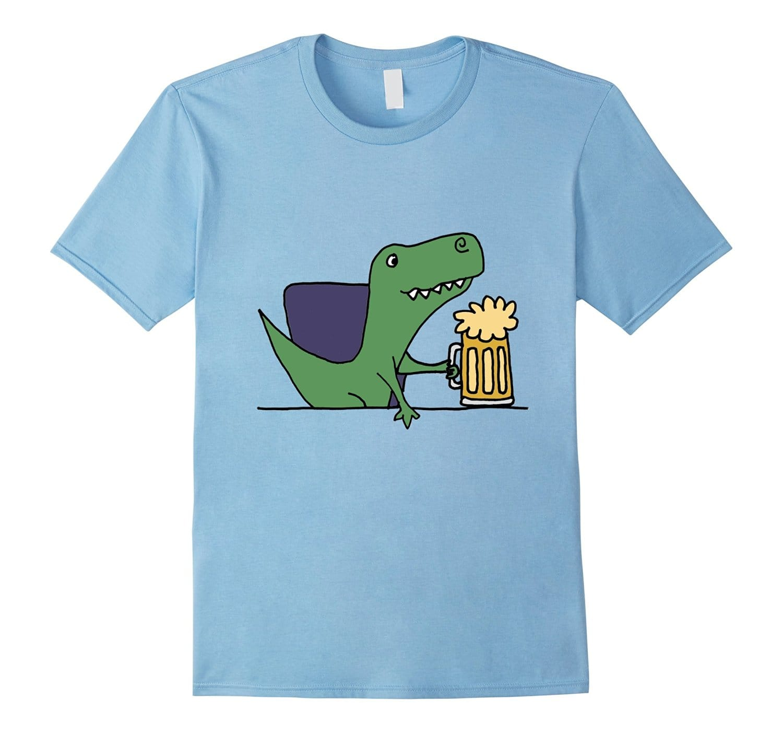 Smiletodaytees Funny T-Rex Dinosaur Drinking Beer