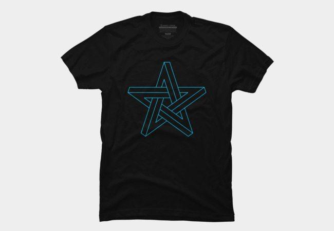 3D impossible pentagram blue