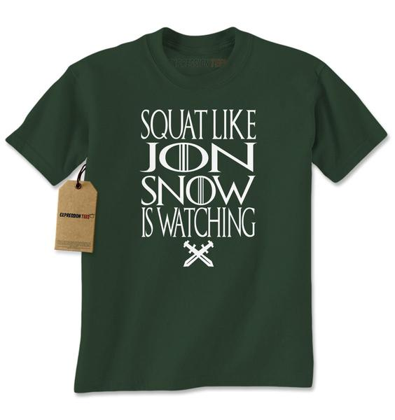 Squat Like Jon Snow Is Watching GoT Mens T-shirt