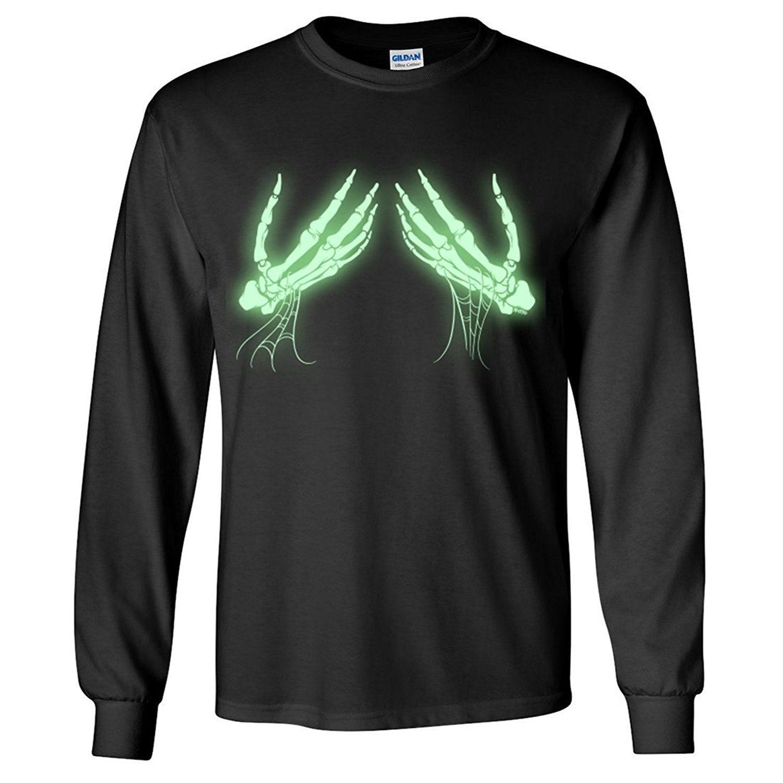 Glow in the Dark Skeleton Hands Long Sleeve Shirt