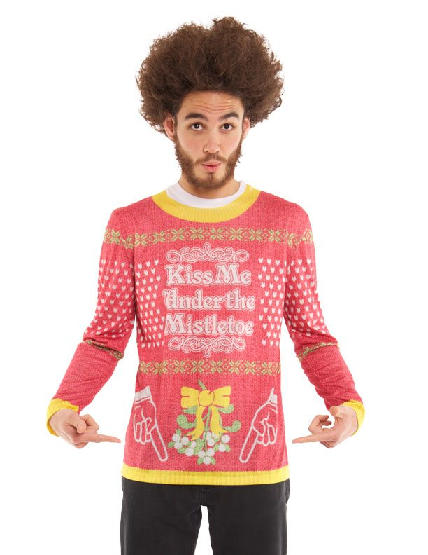 Ugly Christmas Sweater t-shirt Kiss me Under the Mistletoe mens