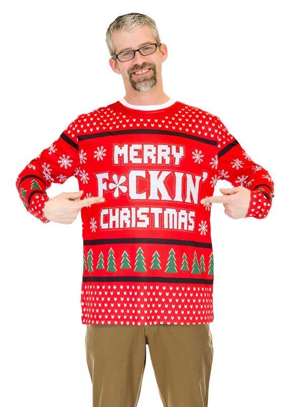 Ugly Christmas Sweater t-shirt Merry F*ckin Christmas mens
