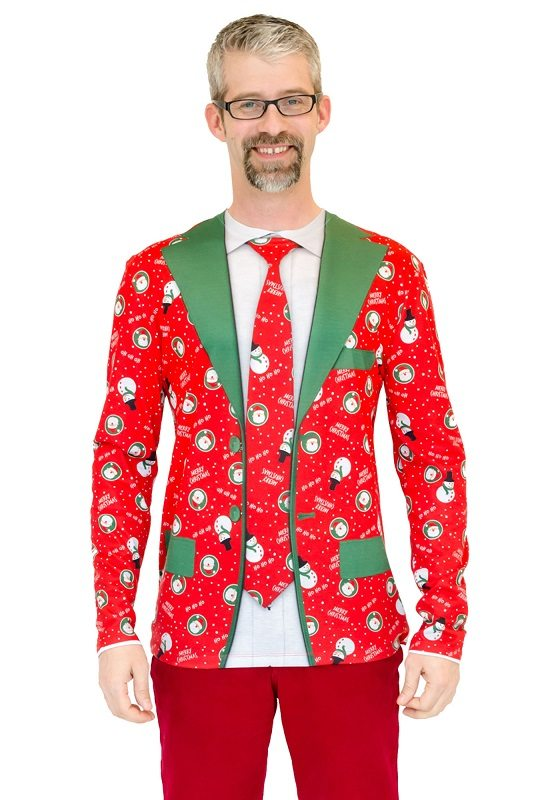 Ugly Christmas Sweater t-shirt Red Xmas Suit and Tie mens