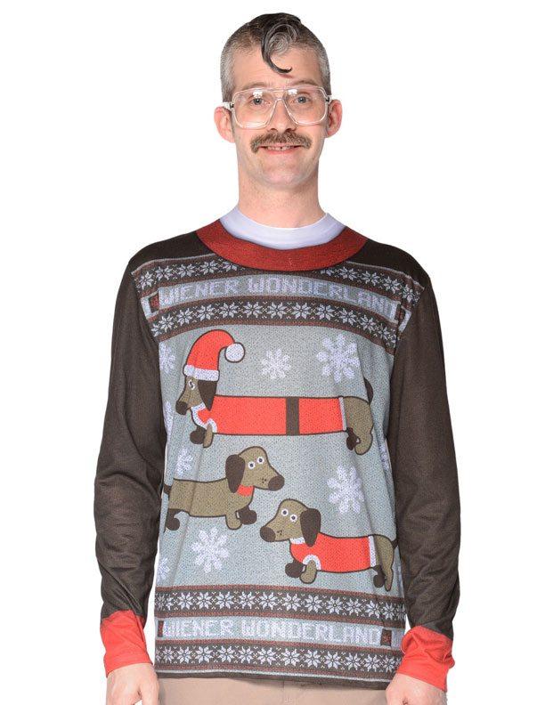 Ugly Christmas Sweater t-shirt Wiener Wonderland mens
