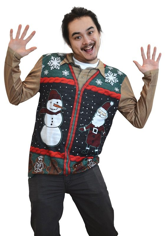 Ugly Christmas Sweater t-shirt Xmas Zip Sweater Vest Print mens