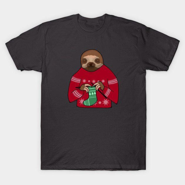 Harvey the Festive Knitting Sloth T-Shirt