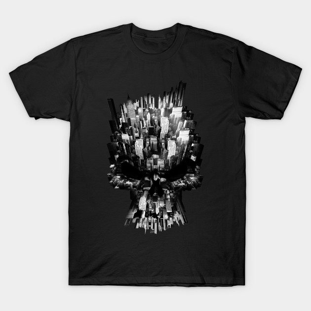 Cool Graphic Design Skull Inside City T-shirt T-Shirt