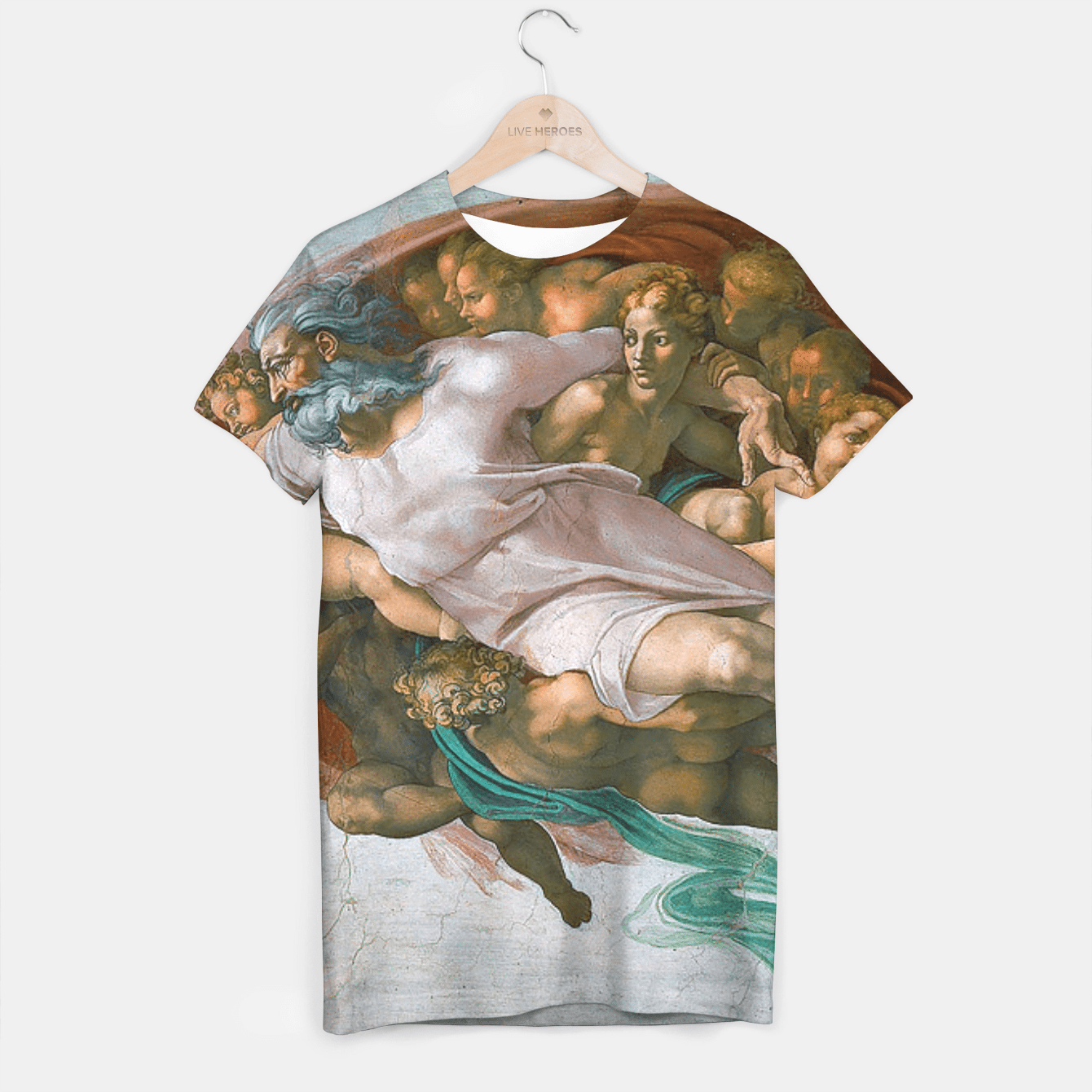 CREATiON OF ADAM BY MiCHELANGELO T-shirt, Live Heroes