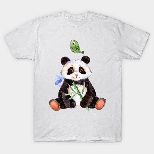 Cute panda and bird watercolors illustration T-Shirt