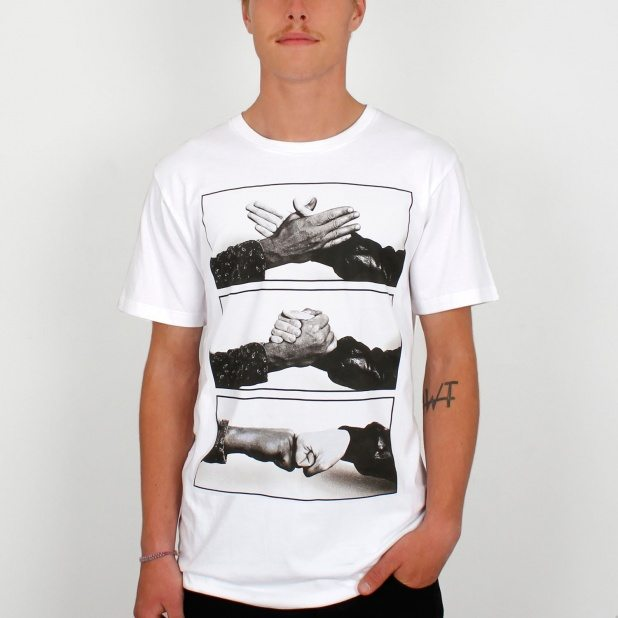 Escort Handshake T shirt in White