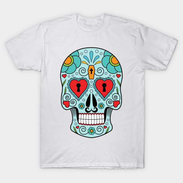 Mexican Skull Blue Coffin T-Shirt