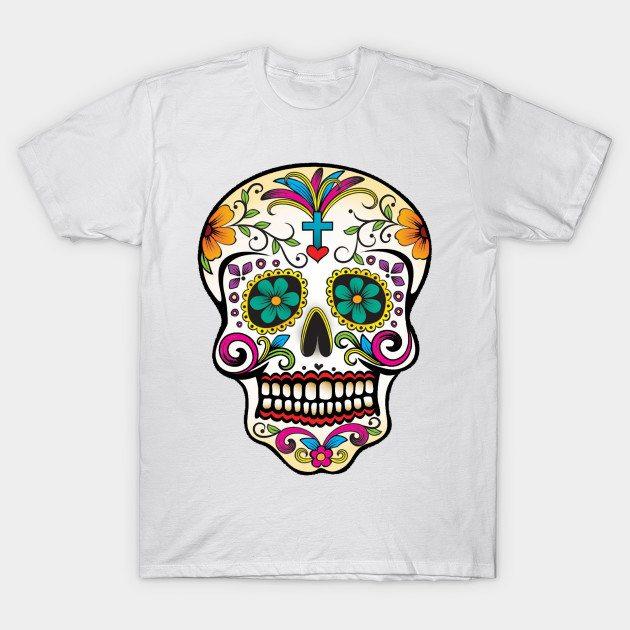 Mexican Skull Blue Cross T-Shirt