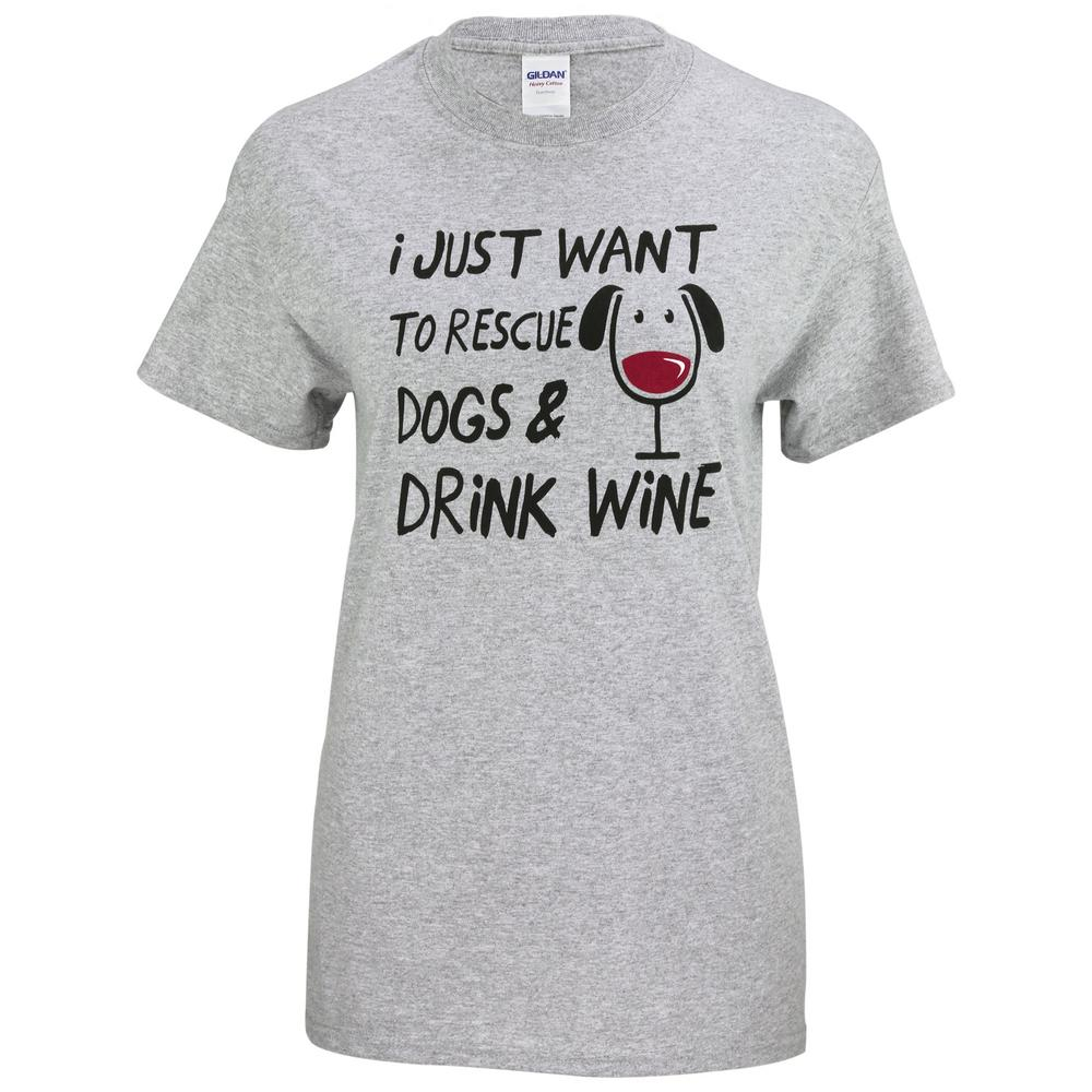 Rescue Dogs & Drink Wine T-Shirt