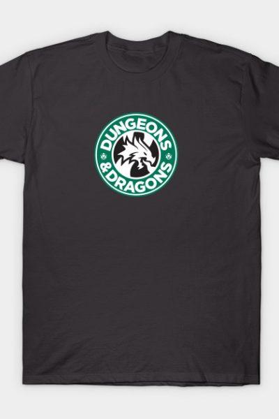 Dungeons & Dragons Starbucks Parody Mashup T-Shirt