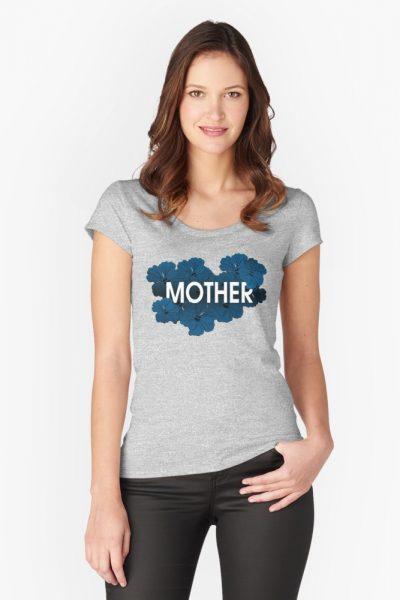 Mother Floral Blue Hibiscus Botanical Art Illustration