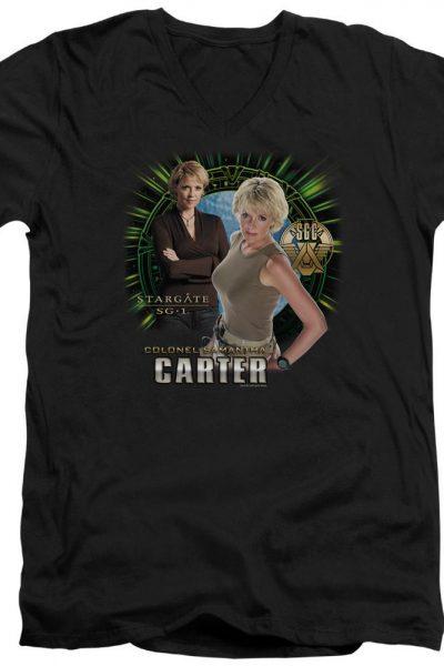 Sg1 Samantha Carter Adult V-Neck T-Shirt