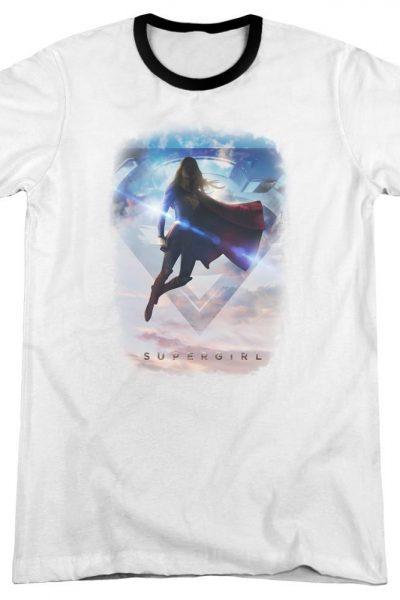 Supergirl – Endless Sky Adult Ringer T- Shirt