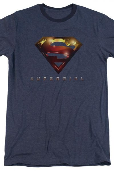 Supergirl – Logo Glare Adult Ringer T- Shirt