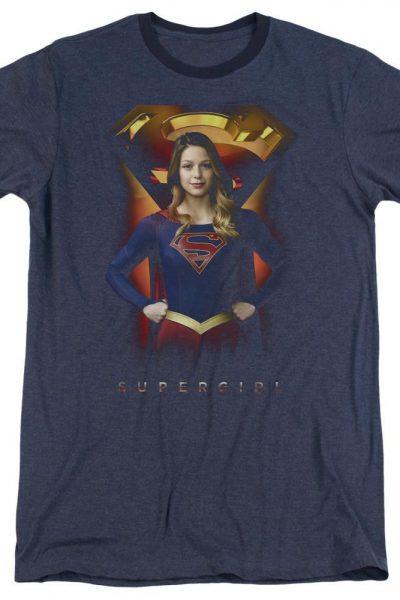 Supergirl – Standing Symbol Adult Ringer T- Shirt