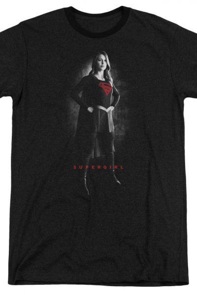 Supergirl – Supergirl Noir Adult Ringer T- Shirt