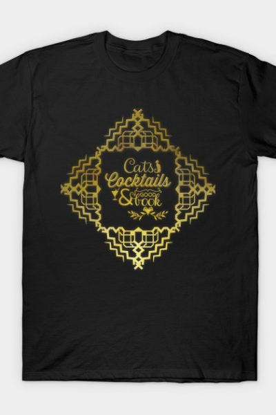 Art Deco Style – Cats, Cocktails & a Good Book T-Shirt