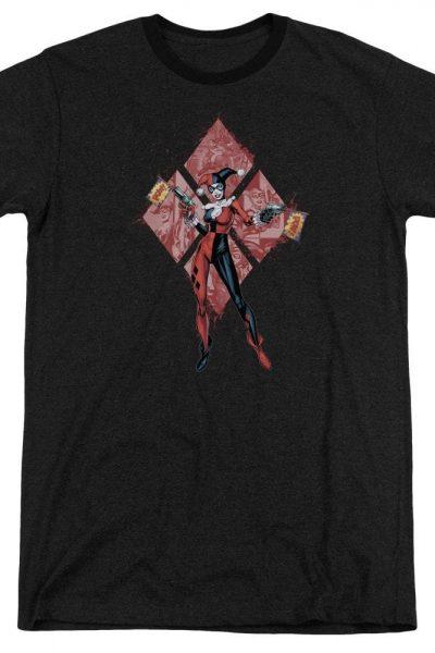 Batman – Harley Quinn (diamonds) Adult Ringer T- Shirt