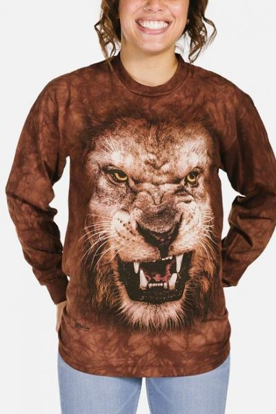 Big Face Roaring Lion Long Sleeve Tee