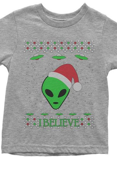 Aliens I Believe In Aliens Ugly Christmas Youth T-shirt