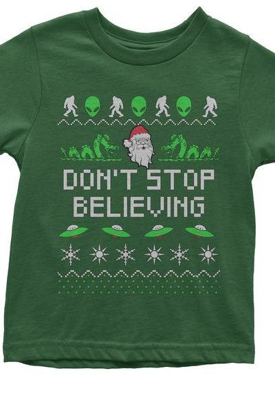Don't Stop Believing Ugly Christmas Youth T-shirt