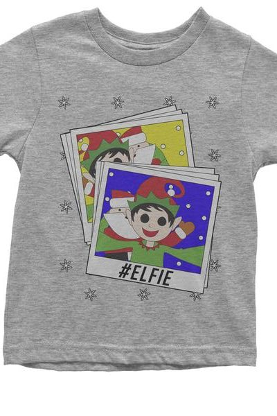 Elfie With Santa Ugly Christmas Youth T-shirt