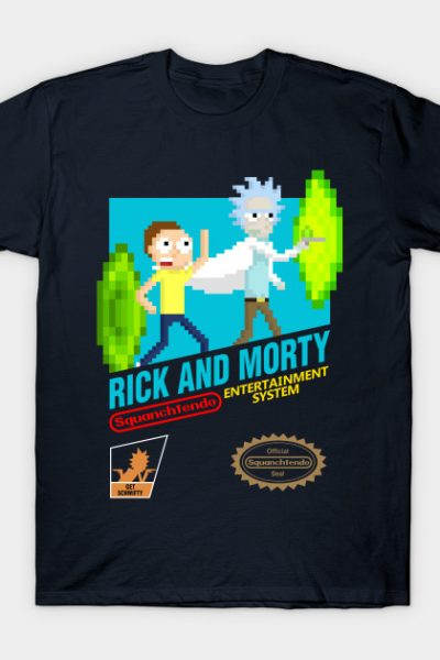 Rick and Morty NES Cartridge With Logos T-Shirt