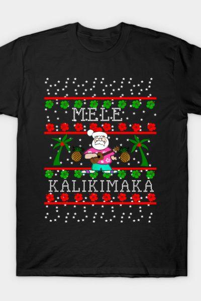 Ugly Christmas Sweater Hawaii Hula Santa T-Shirt