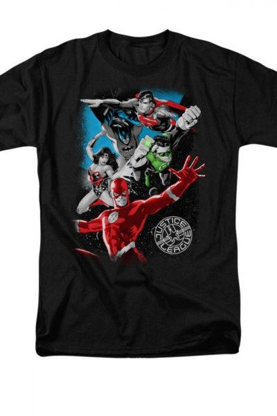 Justice League – Galactic Attack Adult Regular Fit T-Shirt