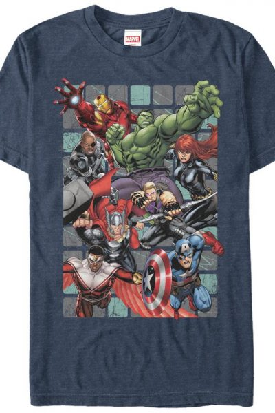 Marvel – Assemble Squares Adult Regular Fit T-Shirt