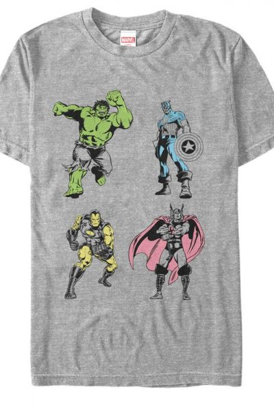 Marvel – Neon Pop Avengers Adult Regular Fit T-Shirt