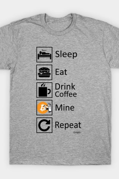 Sleep. Eat. Drink Coffee. Mine. Repeat. Funny Design for Bitcoin Miners T-Shirt