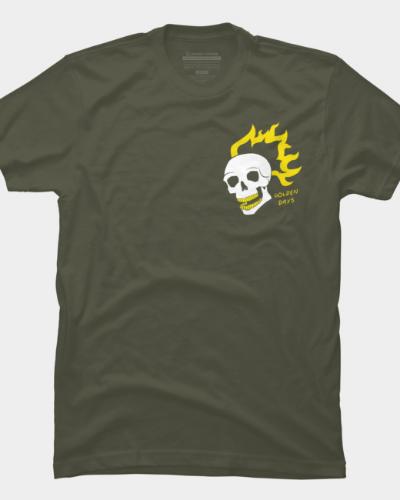 Gold Flaming Skull