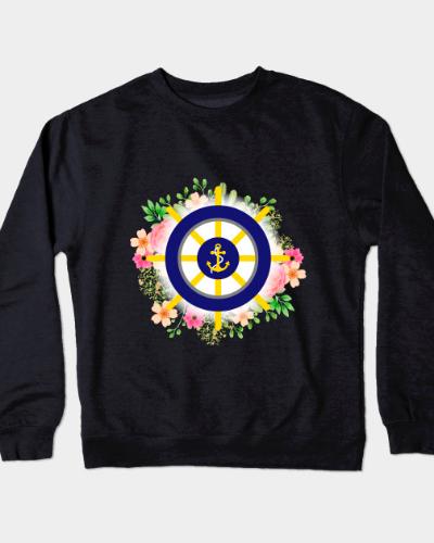 Nautical Anchor/Wheel Flowers Design Crewneck Sweatshirt