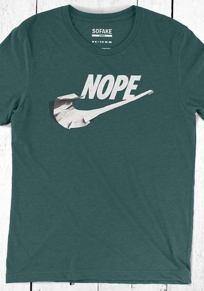 nope t-shirt – nike parody