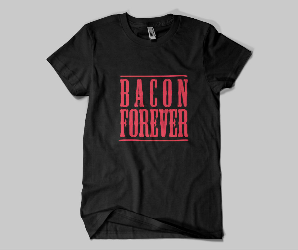 Bacon-Forever-on-Black-Tshirt