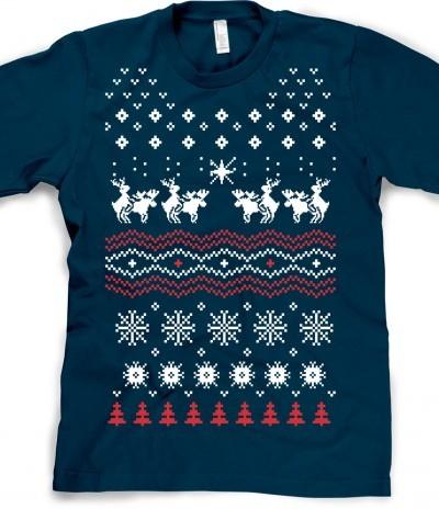 Humping Moose Holiday Sweater T Shirt