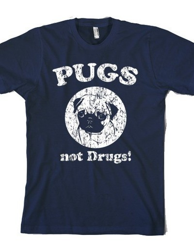 Pugs Not Drugs One Color T-shirt